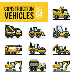 construction vehicle and transport outline color vector image