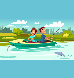couple fishing cartoon vector image