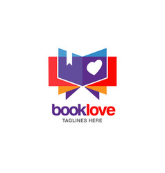 creative book lover logo vector image