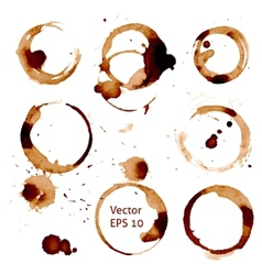 Cup of coffee stains on white background vector