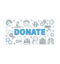 donate modern outline horizontal vector image