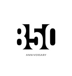 eight hundred fifty anniversary minimalistic logo vector image