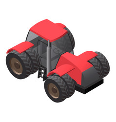 Farm tractor with big wheels isometric vector