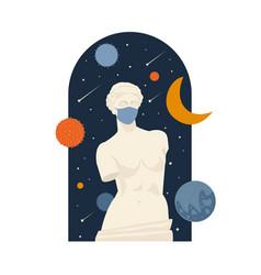 female antique statue museum pandemic vector image