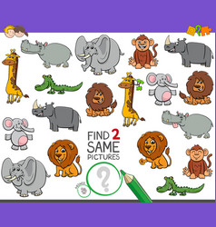 Find two same wild animals game for kids vector