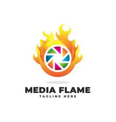 Flame media logo vector