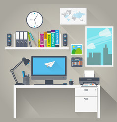 Flat work space with long shadow vector