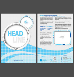 flyer template with blue waved strip vector image