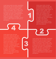 Four red piece puzzle infographic 4 step vector