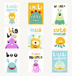 Funny space monsters posters set vector