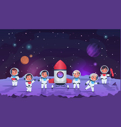 Galaxy kids cartoon children in open cosmos vector