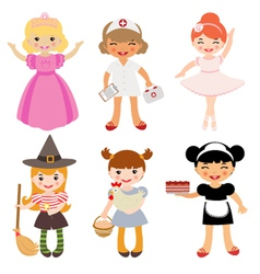 Girls occupations vector