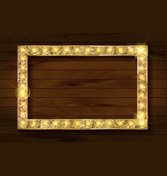 Gold frame on a wooden background vector