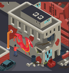 graffiti street artist isometric composition vector image