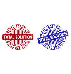 Grunge total solution scratched round stamps vector
