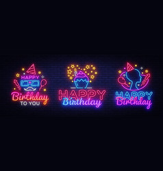 happy birthday neon signs set design template big vector image