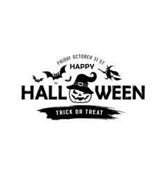 happy halloween message pumpkin in a hat vector image