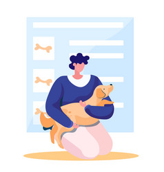 Happy male character petting a dog owner has vector