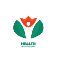 health - silhouette human character in flower vector image