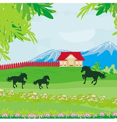 Horses grazing in a pasture with mountains vector image