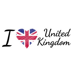 i love country united kingdom text heart doodle vector image