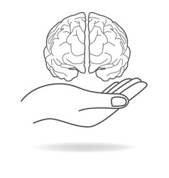 Icon of a hand holding a human brain vector