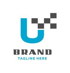 initial logo u technology vector image