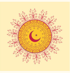 Islamic decorative background with moon and star vector