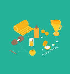 isometric icons for fitness and diet vector image