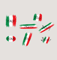 italian flag with handwritten lettering italy vector image