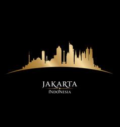 Jakarta indonesia city skyline silhouette black vector