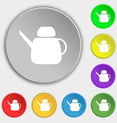 Kettle Icon sign Symbol on eight flat buttons vector image
