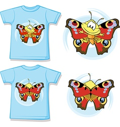 kid shirt with cute butterfly printed vector image