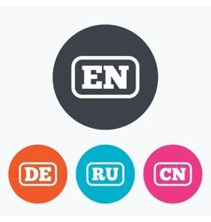 Language icons EN DE RU and CN translation vector