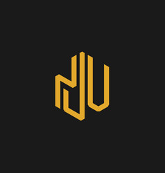 letter nju building abstract monogram logo vector image