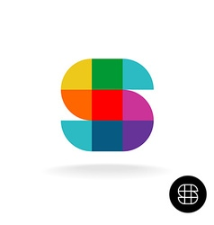 Letter S colorful rainbow square and sector vector image