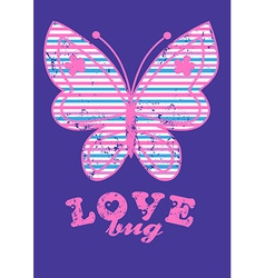 Love bug with colored stripes vector
