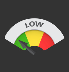 Low level risk gauge icon low fuel on black vector