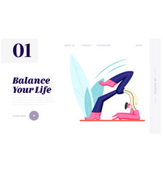 male character trying to keep balance doing yoga vector image