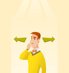 Man choosing career way or business solution vector