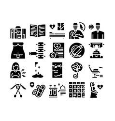 Maternity hospital glyph set vector