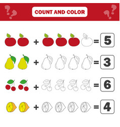 Math educational game for children counting vector
