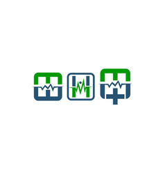 medical initial m w h set vector image