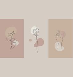 Minimalist style plants hand line flower vector