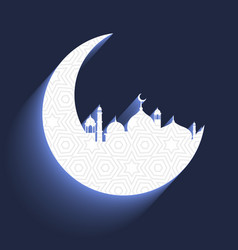 Mosque with crescent moon vector