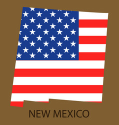 New mexico state of america with map flag print vector