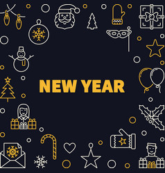 new year creative outline square frame vector image