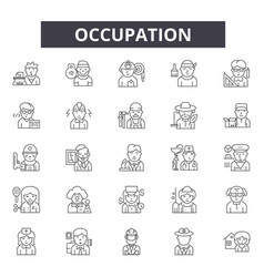 Occupation line icons signs set linear vector