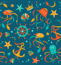 Ocean treasures seamless pattern vector