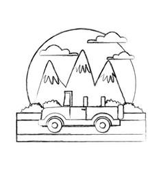 off road sport truck between mountains landscape vector image